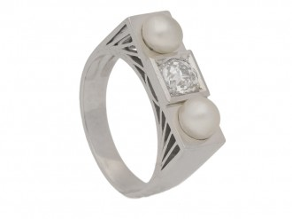 front view Art Deco natural pearl and diamond ring, French, circa 1925.
