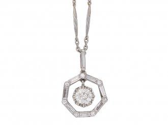 front view Art Deco diamond pendant, circa 1935.