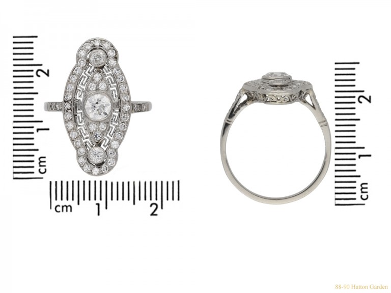 size view Belle Epoque diamond cluster ring, circa 1905. hatton garden berganza