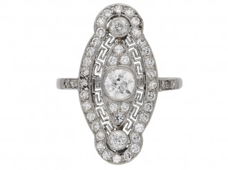 front view Belle Epoque diamond cluster ring, circa 1905. hatton garden berganza