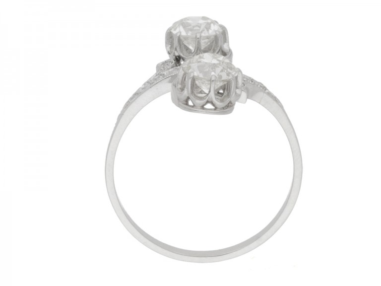 back view Antique diamond two stone cross over engagement ring, circa 1910.