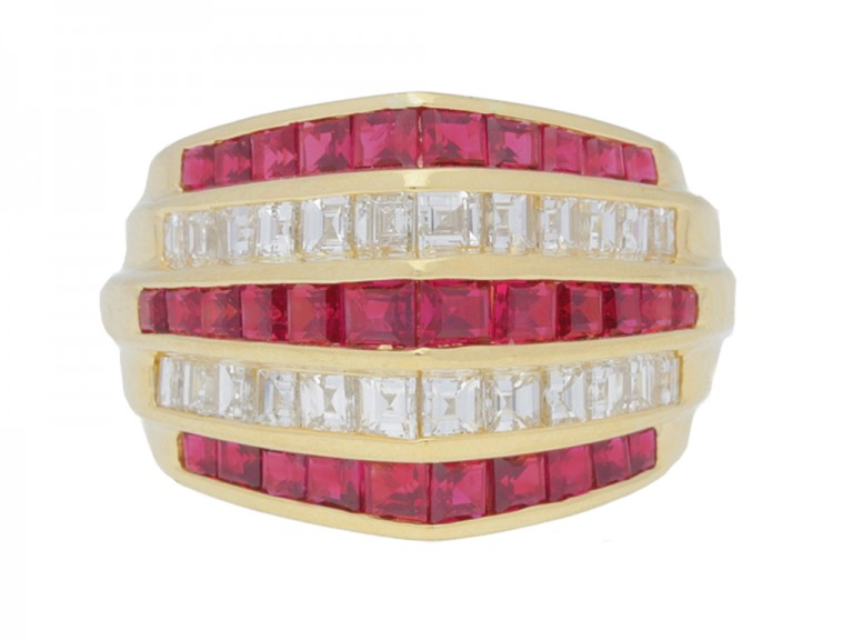 front view Oscar Heyman Brothers ruby and diamond ring, circa 1940.