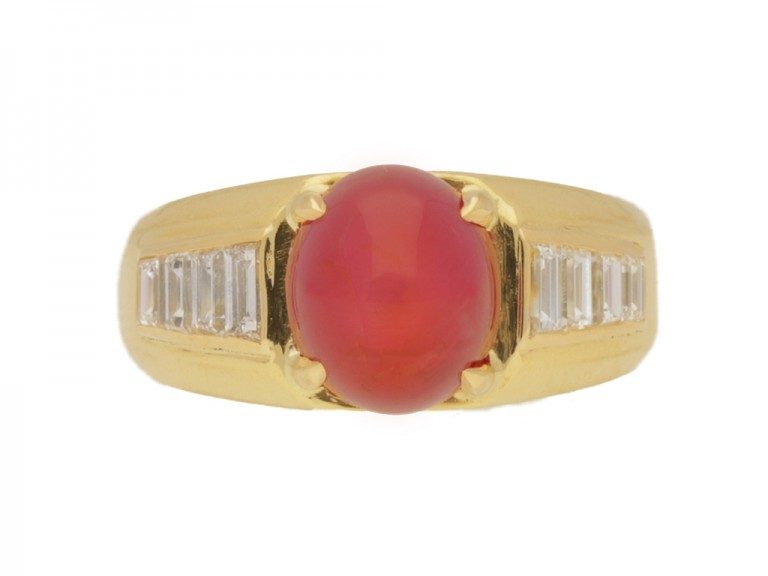 front view Van Cleef & Arpels Burmese star ruby and diamond ring, circa 1960.
