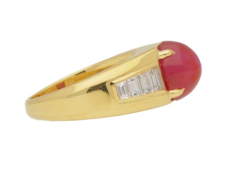 side view Van Cleef & Arpels Burmese star ruby and diamond ring, circa 1960.