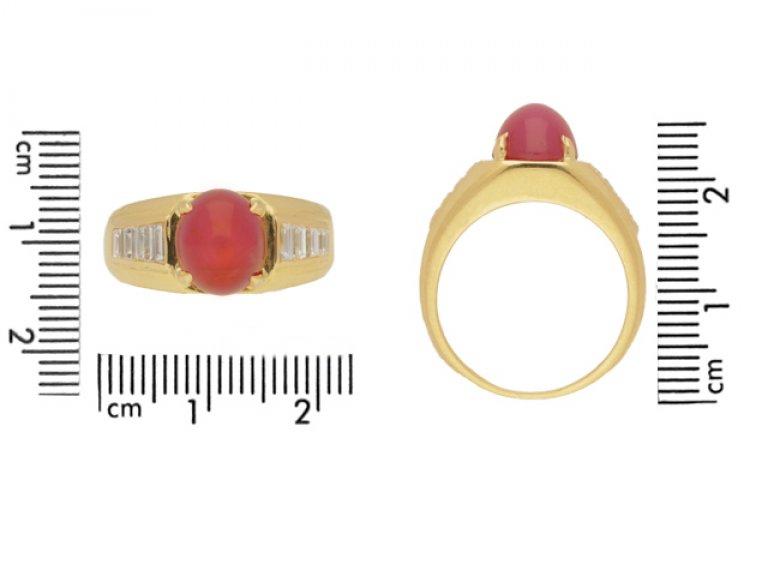 size view Van Cleef & Arpels Burmese star ruby and diamond ring, circa 1960.