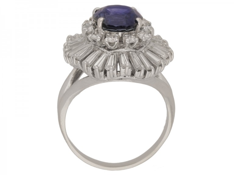 back view Vintage sapphire and diamond ballerina coronet cluster ring, circa 1970.