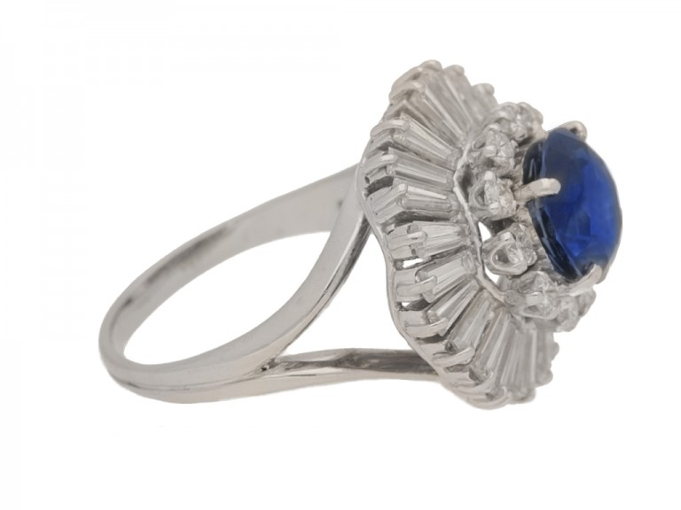 side view Vintage sapphire and diamond ballerina coronet cluster ring, circa 1970.
