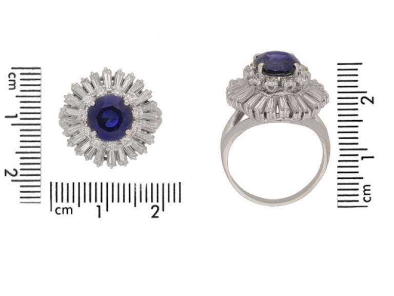 siz ewview Vintage sapphire and diamond ballerina coronet cluster ring, circa 1970.