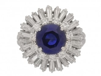 ront view \Vintage sapphire and diamond ballerina coronet cluster ring, circa 1970.
