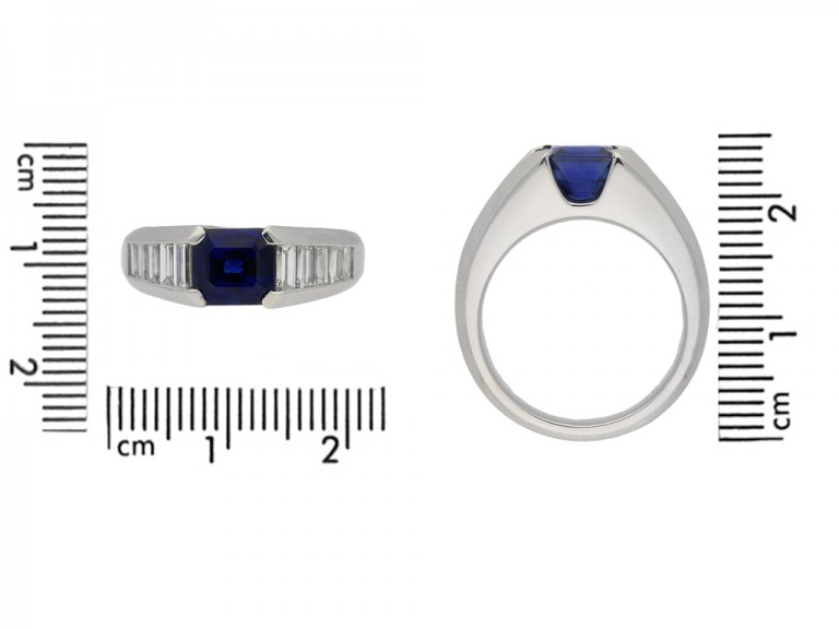 size view Sapphire and diamond ring, circa 1975. berganza hatton garden