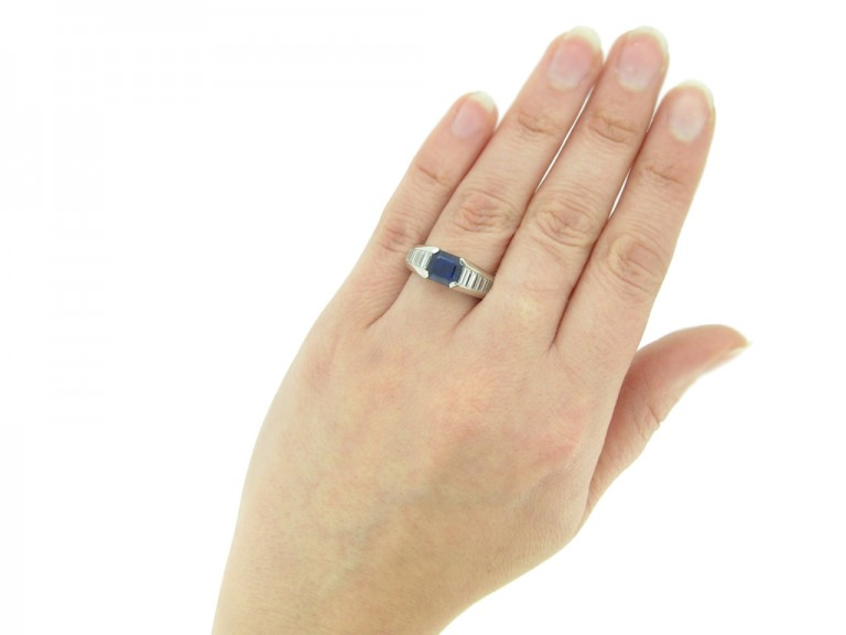 hand view Sapphire and diamond ring, circa 1975. berganza hatton garden