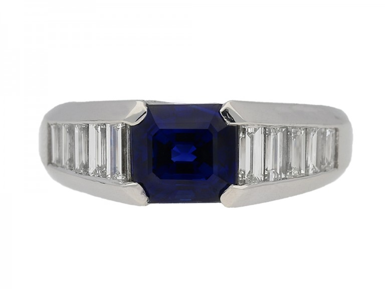 front view Sapphire and diamond ring, circa 1975. berganza hatton garden