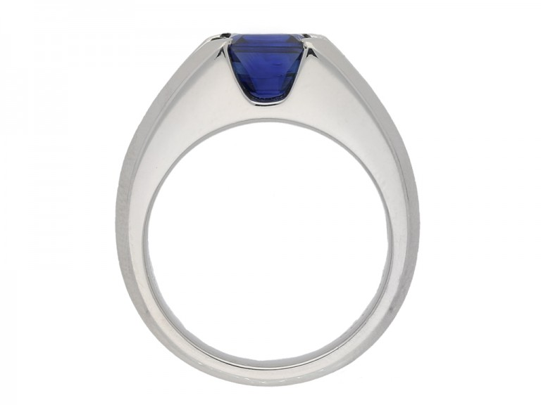 back view Sapphire and diamond ring, circa 1975. berganza hatton garden