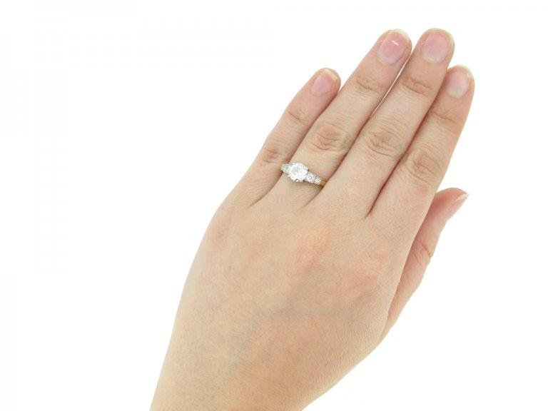 hand view Diamond engagement ring, circa 1930.
