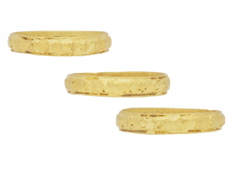 side view gold posy ring berganza hatton garden