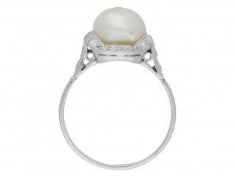 back view Natural pearl and diamond ring, circa 1920.