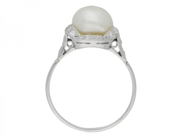 back view Natural pearl and diamond ring, circa 1920.