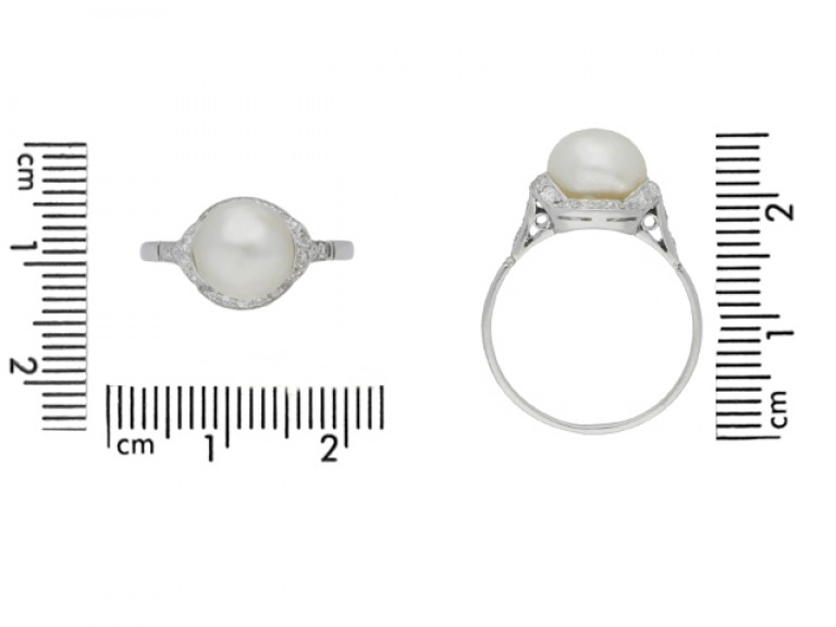 size view Natural pearl and diamond ring, circa 1920.