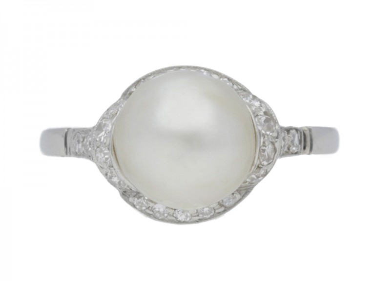 front view Natural pearl and diamond ring, circa 1920.