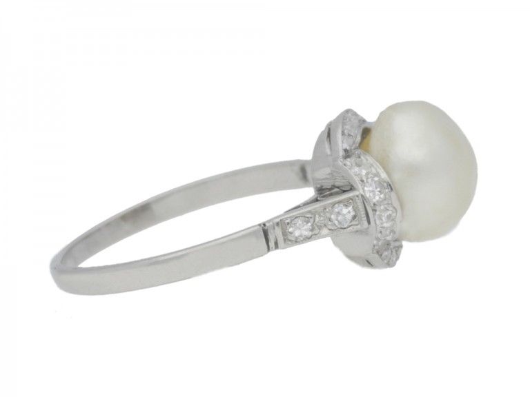 side view Natural pearl and diamond ring, circa 1920.