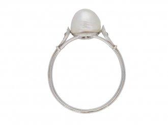 front view Natural pearl and diamond ring, circa 1915.