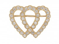 front view Antique diamond double heart brooch, circa 1910.