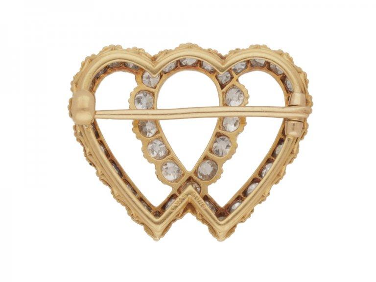 Antique diamond double heart brooch, circa 1910.
