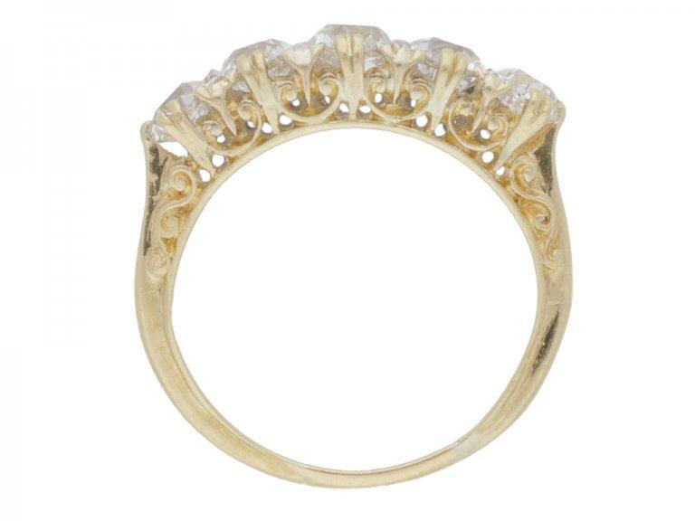 back view Antique diamond five stone ring, circa 1900.