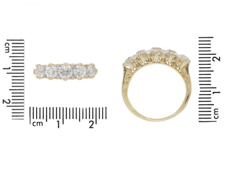 size view Antique diamond five stone ring, circa 1900.