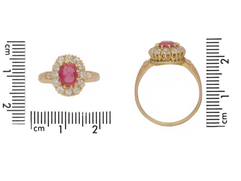 size view Burmese ruby and diamond cluster ring, circa 1890.