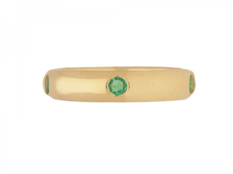 front view Vintage Cartier emerald set band, circa 1992.