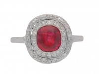 front view Burmese ruby and diamond cluster ring, circa 1920.
