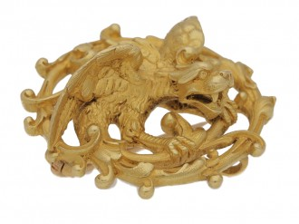 front view Attributed to Wiese, Gothic Revival brooch, circa 1900.
