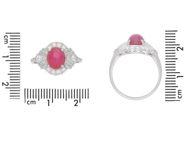 size view Star ruby fancy diamond cluster ring, circa 1935.