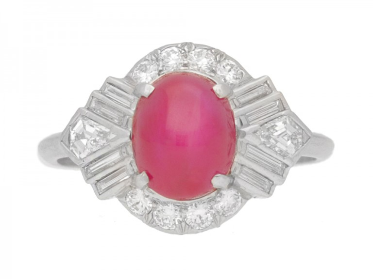 front view Star ruby fancy diamond cluster ring, circa 1935.