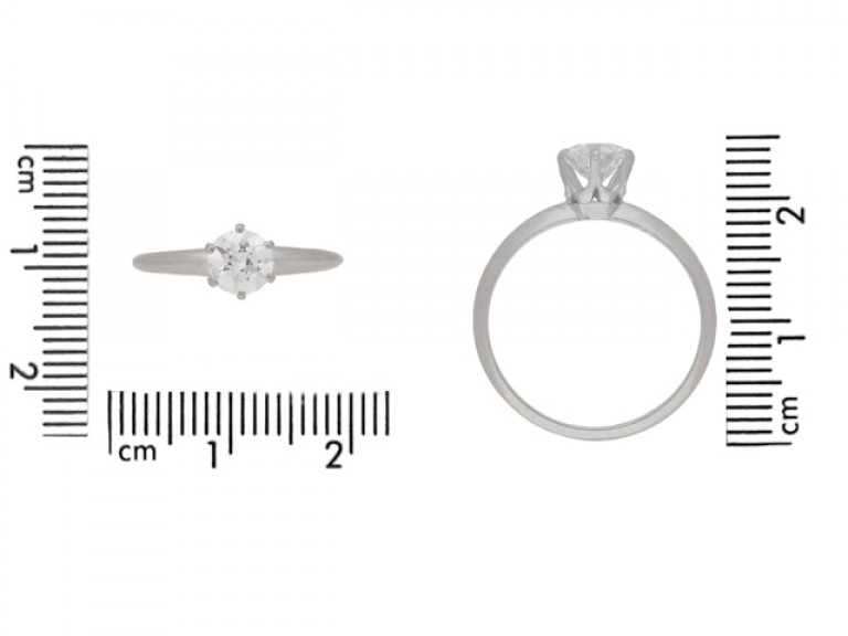 size view Solitaire diamond engagement ring by Tiffany & Co, circa 1950.