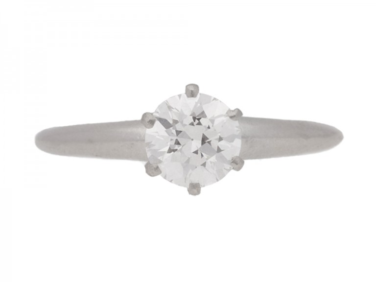front view Solitaire diamond engagement ring by Tiffany & Co, circa 1950.