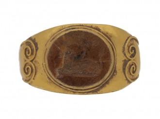 front view Ancient Roman ring with jasper lion intaglio, circa 3rd century AD.