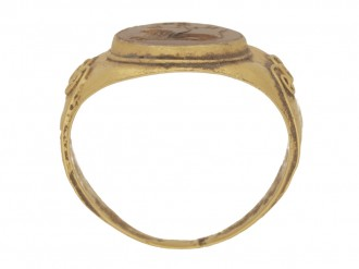 back view Ancient Roman ring with jasper lion intaglio, circa 3rd century AD.