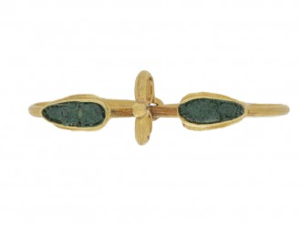 front view Ancient Roman twin ring set with glass, circa 1st 2nd century AD.