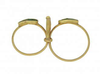 back view Ancient Roman twin ring set with glass, circa 1st 2nd century AD.