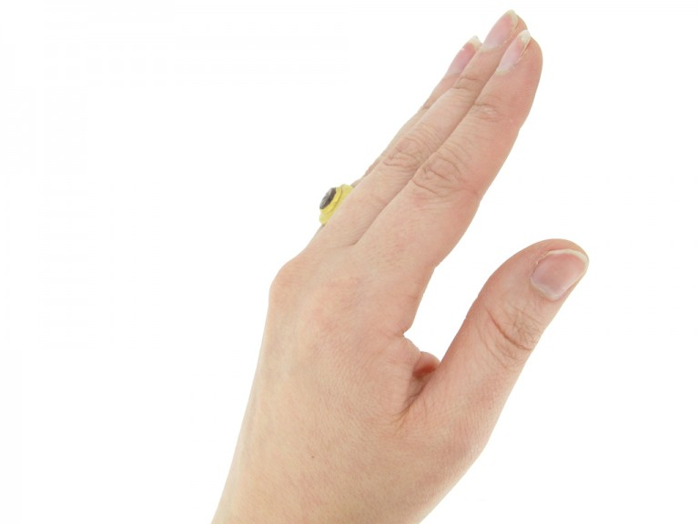 hand view Ancient Roman signet ring with cornelian intaglio of Mercury
