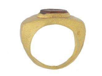 back view Ancient Roman signet ring with cornelian intaglio of Mercury