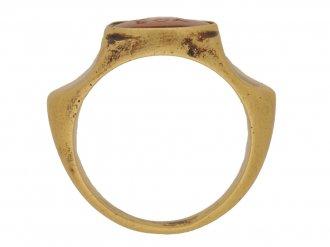 back view Ancient Roman jasper engraved 'RUFUS' ring, circa 3rd century AD.