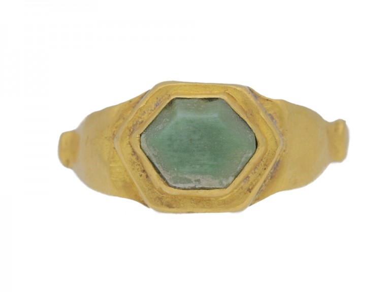 front view Ancient Roman ring set with green agate, circa 2nd 4th century AD.