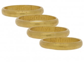 multi view Gold posy ring 'Hearts united live contented', circa 18th century.