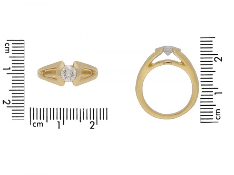 siz eview Solitaire diamond ring by Mellerio, French, circa 1970.