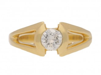 front view Solitaire diamond ring by Mellerio, French, circa 1970.