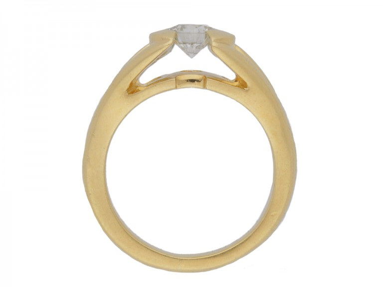 back view Solitaire diamond ring by Mellerio, French, circa 1970.