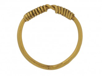 front view Gold Viking band ring, circa 9th 11th century.